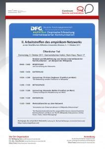 """06.-07. Oktober 2011: II. Arbeitstreffen des DFG-Netzwerks """"Empirische Erforschung internetbasierter Kommunikation"""""""