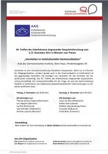 02.-03. Dezember 2011: 49. Treffen des Arbeitskreises Angewandte Gesprächsforschung (AAG)