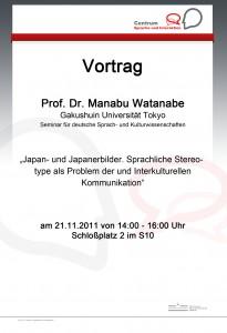 21.11.2011: Vortrag Prof. Dr. Manabu Watanabe (Gakushuin Universität Tokio)