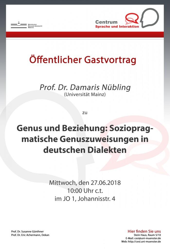 Gastvortrag von Prof. Dr. Nübling