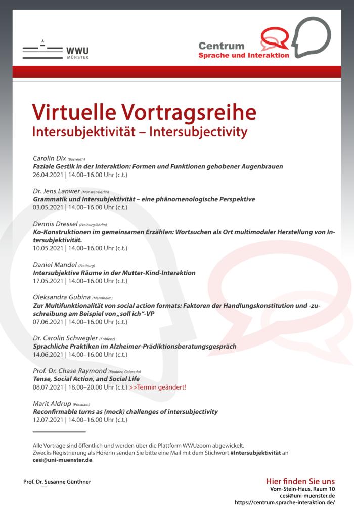 """Intersubjektivität – Virtuelle Vortragsreihe in der Forschungswerkstatt """"Interaktionale Linguistik"""""""